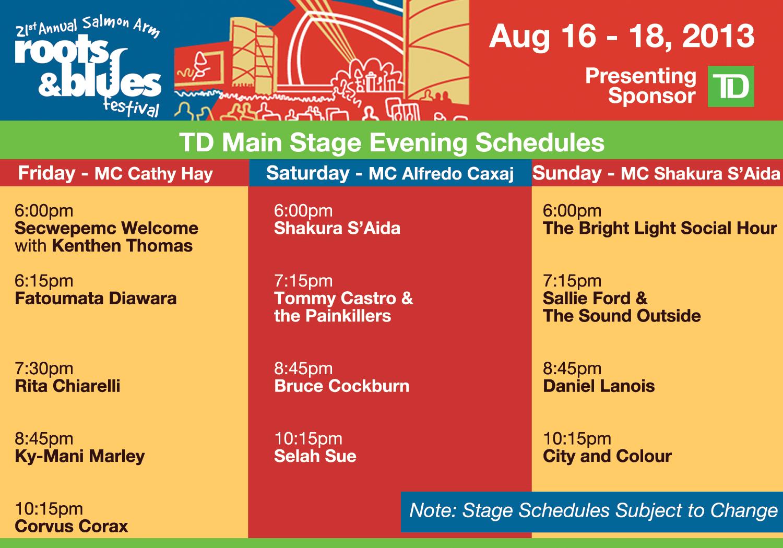 TD2013MainStageSchedule 2013 Schedules