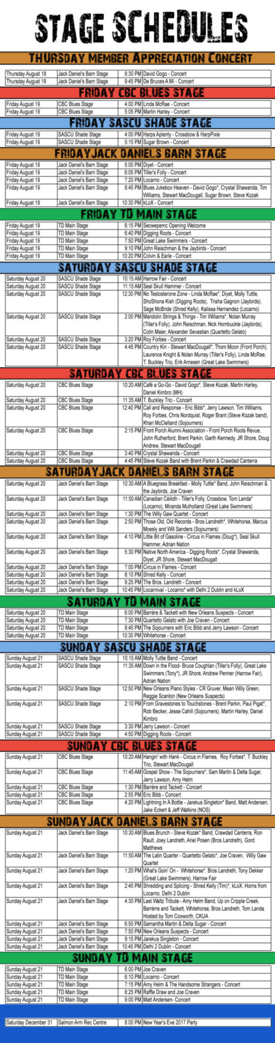 Schedule for the Salmon Arm Roots&Blues Festival